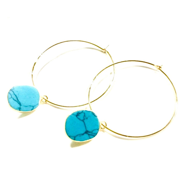 Amie Flat Turquoise Hoop Earrings