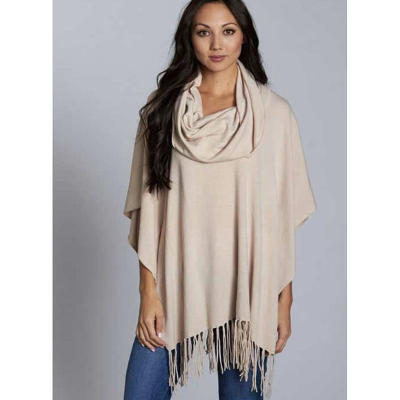 Emeila Cream Fringe Poncho Lovestitch