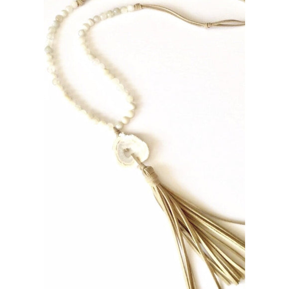 Brena Geode Moonstone Tassel Necklace