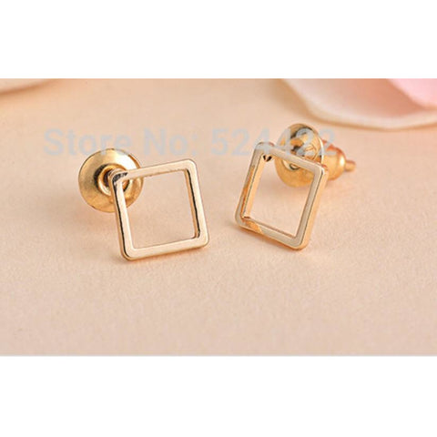 Kate Square Gold Matte Earrings