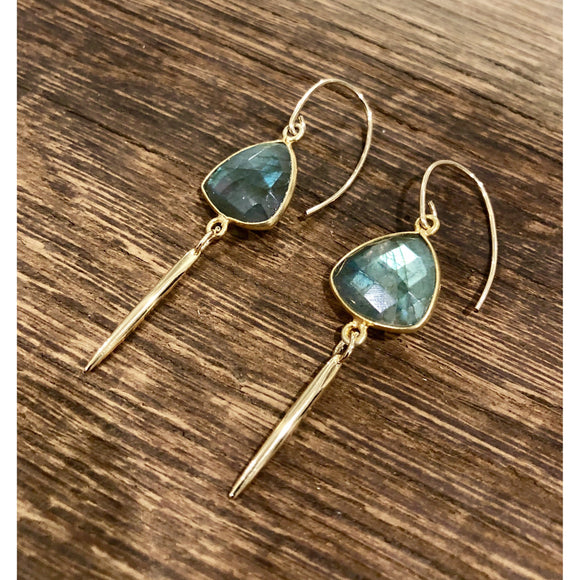 Alana Labradorite Gold Drop Earrings
