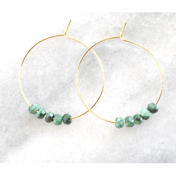 Addie Turquoise Beaded Gold Hoop Earrings