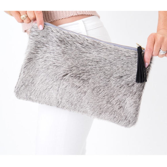 Lyn P Grey Tassel Cowhide Clutch Handbag