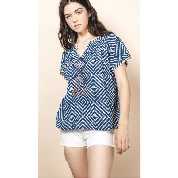 Andy THML Blue V-Neck Embroidered Top