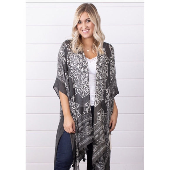 Lita Olive Printed Lovestitch Kimono 1-11360-Fig Tree Jewelry & Accessories