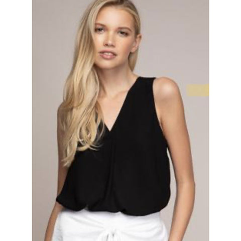 Ali Black Deep V Sleeveless Top
