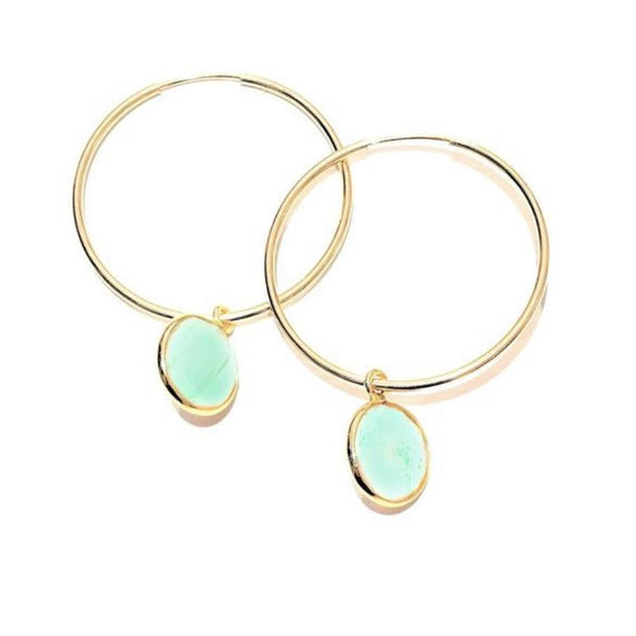 Amie Chalcedony Hoop Earrings