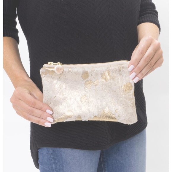 Lyn Mini Gold P Cowhide Clutch