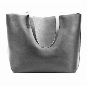 Chloe Grey Vegan Leather Tote Handbag-Fig Tree Jewelry & Accessories
