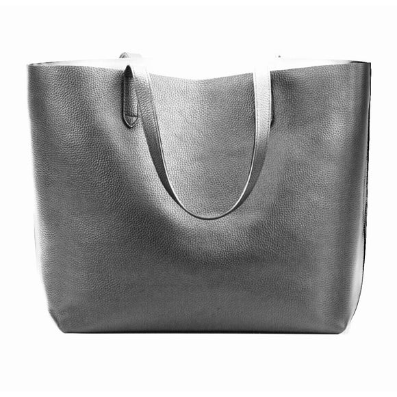 Chloe Grey Vegan Leather Tote Handbag