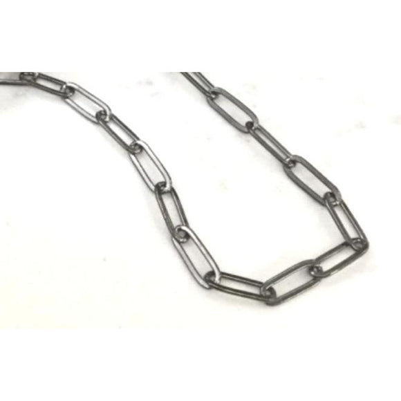Ann Paperclip Oxidized Silver Necklace