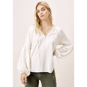 Ashlyn Lovestitch Ivory Lantern Sleeve Top I-12603W-PSW