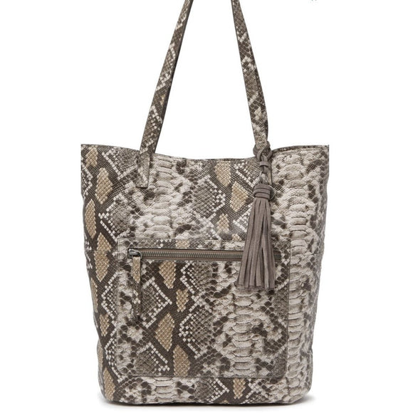 Lucky Brand Snake Embossed Leather Tote Handbag-Fig Tree Jewelry & Accessories