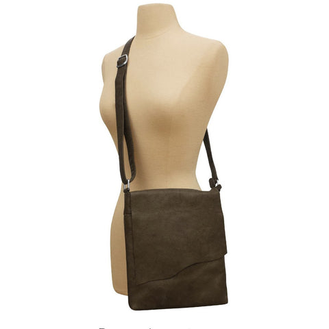Kara Dark Brown Medium Leather Raw Edge Flap Crossbody