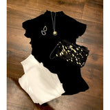 Abby Black Smocked Flutter Sleeve THML Top