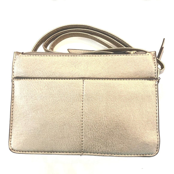 Carlie Deep Platinum Multi Zipper Crossbody Handbag