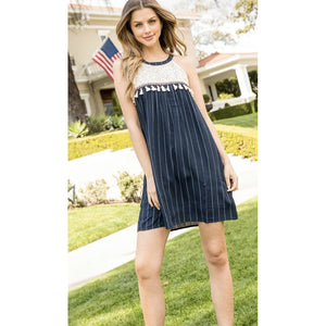 Abara THML Halter Stripe Embroidered Dress