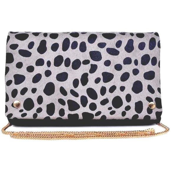Lyn Foldover Leopard Grey Black Clutch
