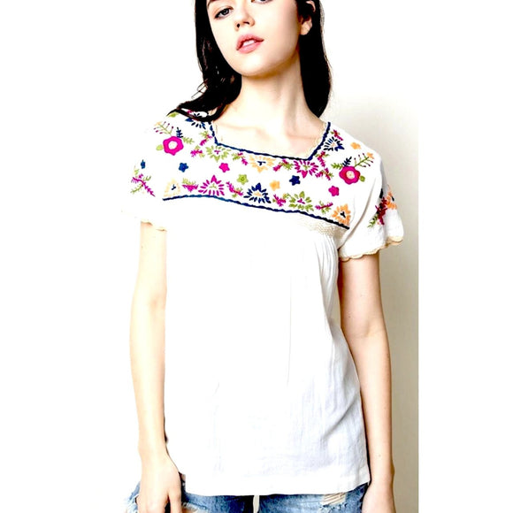 Aria THML White Embroidered Top