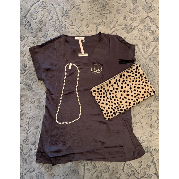 Carrie Deep Brown Tunic Top-Fig Tree Jewelry & Accessories