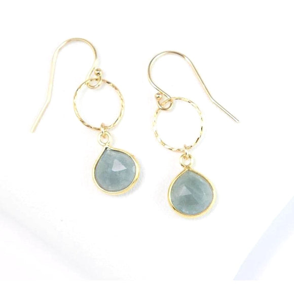 Greta Hammered Chalcedony Stone Earrings