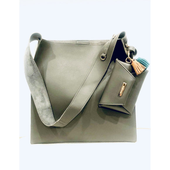 Carly Grey Vegan Leather Handbag-Fig Tree Jewelry & Accessories