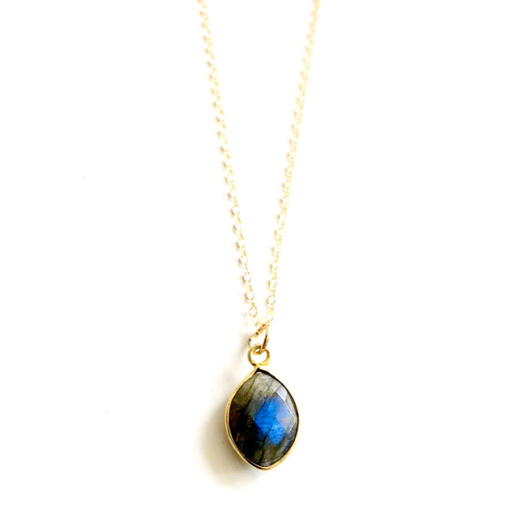 Grace Small Labradorite Drop Bezel Pendant