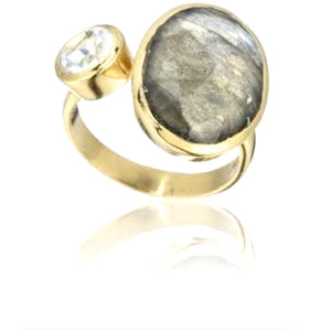 Amia Gold Labradorite White Topaz Double Ring