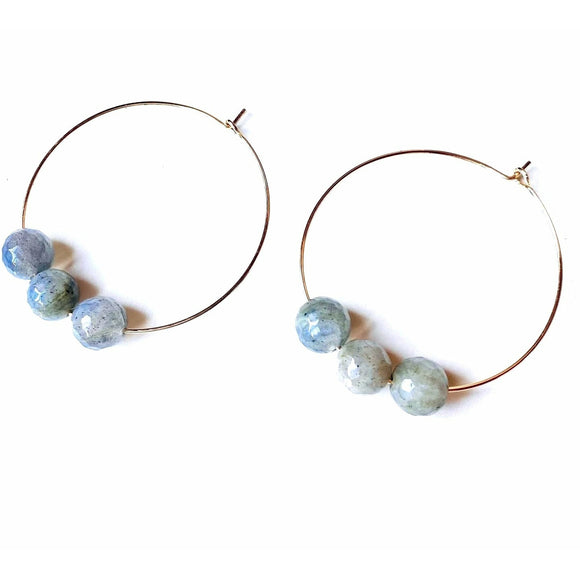 Addie Gold Hoop Labradorite Beaded Earrings