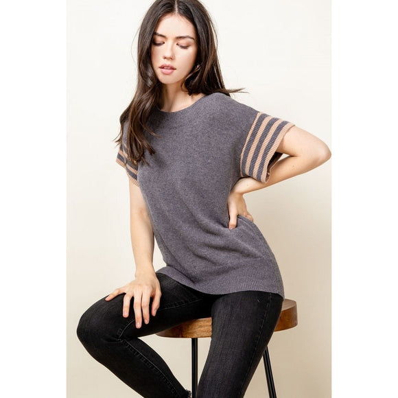 Diana THML Short Sleeve Rib Knit Top