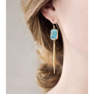 Bali Turquoise Long Pendant Earrings