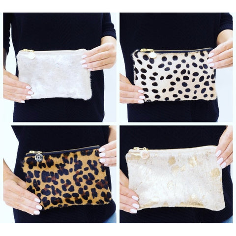 Lyn Mini Leopard Cowhide Clutch