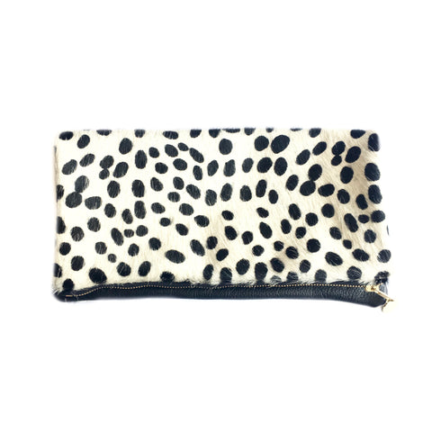 Cleo P Animal Print Black Leather Clutch Handbag