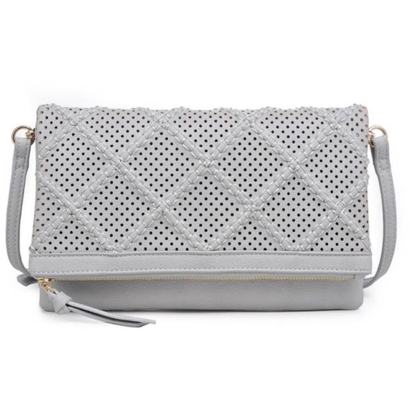 Moda Luxe Grey Clutch Crossbody Handbag