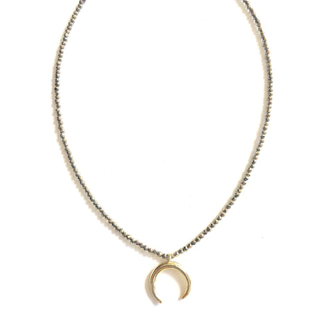 Alana Gold Crescent Beaded Necklace