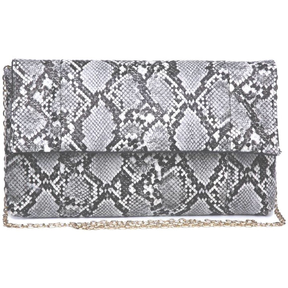 Essie Vegan Grey Snake Clutch Crossbody Handbag