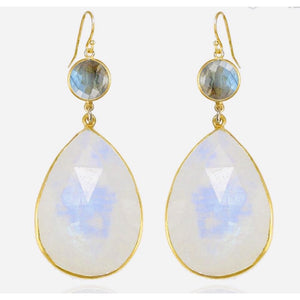 Claire Double Moonstone Labradorite Dangle Earrings