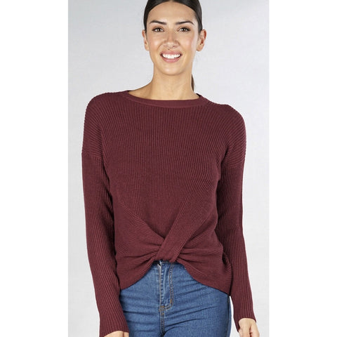 Elsie Wine Pullover Lovestitch Waffle Knit Crew