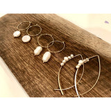 Amie Dangle Pearl Hoop Earrings