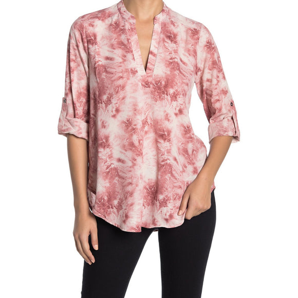 Aspen Printed Tie Dye Lush Split Neck Top t7131b-i-Fig Tree Jewelry & Accessories