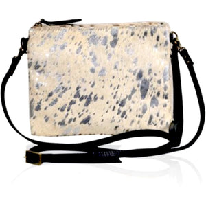 Brio Black Silver Cowhide Crossbody Handbag