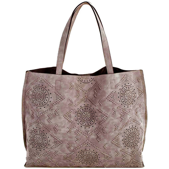 Claris Suede Grey Textured Tote SL 380 Street Level
