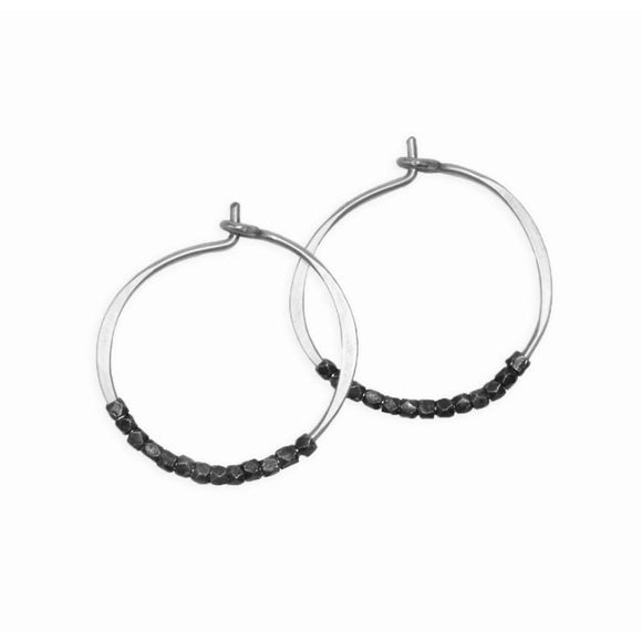 Addie Hematite Beaded Silver Hoop Earrings