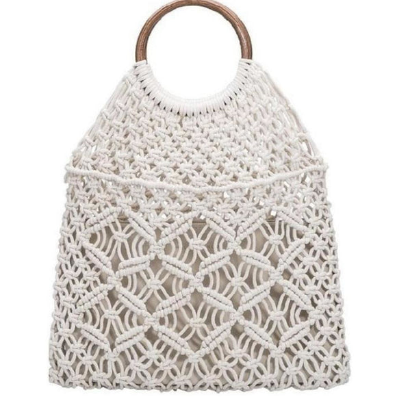 Amelia Light Cream Macrame Crochet Wooden Handle Tote