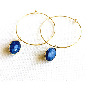 Amie Blue Lapis Hoop Earrings