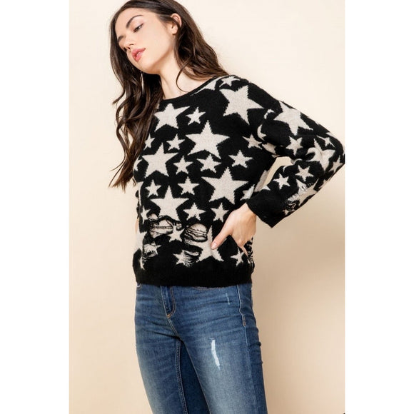 Meredith Distress Star Sweater TMK1059