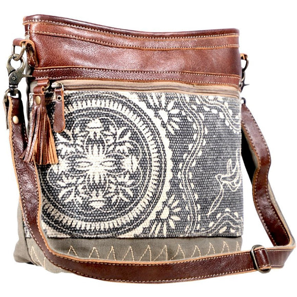 Layton Leather Canvas Printed Crossbody Handbag