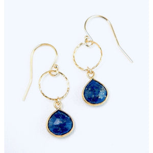 Greta Gold Circle Hammered Lapis Earrings