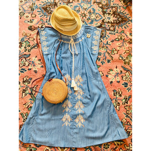 Cara Denim Embroidered Dress