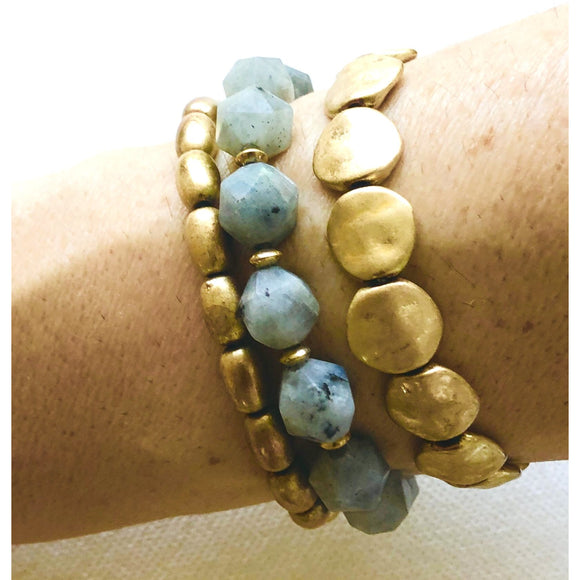 Lila Stacking Labradorite Brushed Gold Beaded Bracelet